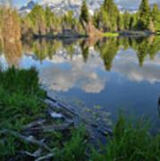 Teton Reflection In Schwabacher Landing Art Print