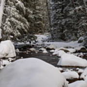 Teton River In Winter Art Print