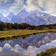 Tetons At The Landing 1 Art Print