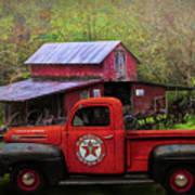 Texaco Truck On A Smoky Mountain Farm In Colorful Textures  Art Print