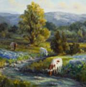 Texas Bluebonnets And Longhorns Art Print