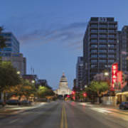 Texas Capitol And The Paramount From Congress Art Print