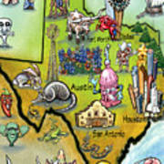 Texas Cartoon Map Art Print
