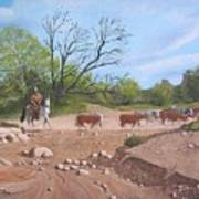 Texas Cattle Drive Art Print