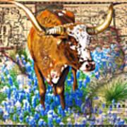 Texas Longhorn In Bluebonnets Art Print