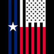 Texas State Flag Graphic Usa Styling Art Print