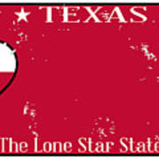 Texas State License Plate With Damage Art Print