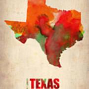 Texas Watercolor Map Art Print