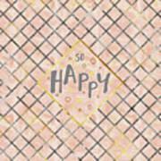 Text Art So Happy - Orange Art Print