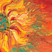 Textured Fire Sunflower Print by Nadine Rippelmeyer