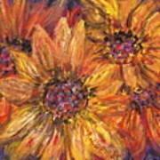 Textured Gold And Red Sunflowers Art Print