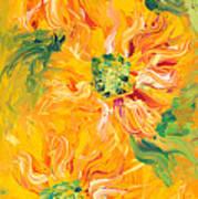 Textured Yellow Sunflowers Art Print