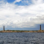 Thacher Island Twin Lights Storm Coming In Art Print