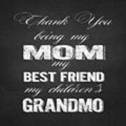 Thank You Mom Chalkboard Typography Art Print