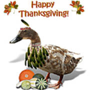 Thanksgiving Indian Duck Art Print