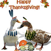Thanksgiving Indian Ducks Art Print