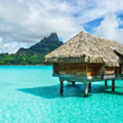 Thatched Roof Honeymoon Bungalow On Bora Bora Art Print