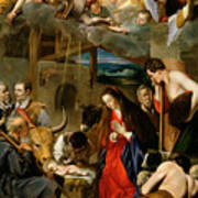 The Adoration Of The Shepherds Print by Fray Juan Batista Maino or Mayno