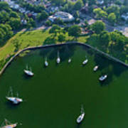 The Aerial View Of The Marina Of Mamaroneck Art Print