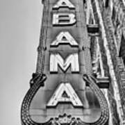 The Alabama Theater in Black and White Art Print