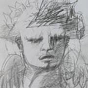The Archangel Michael By Alice Iordache Original Drawing Art Print