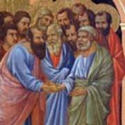The Arrival Of The Apostles To The Virgin Fragment 1311 Art Print