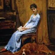 The Artist Wife And His Setter Dog 1889 Art Print