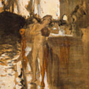 The Balcony, Spain Two Nude Bathers Standing On A Wharf Art Print