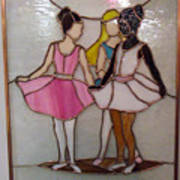 The Ballet Dancers In Stained Glass Print by Arlene  Wright-Correll