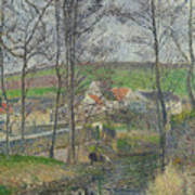 The Banks Of The Viosne At Osny In Grey Weather, Winter Art Print