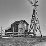 The Barn And Windmill Art Print