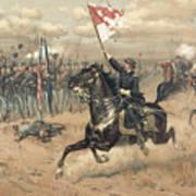 The Battle Of Cedar Creek Virginia Art Print by Thure de Thulstrup