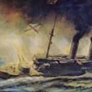The Battle Of The Gulf Of Riga Art Print by Mikhail Mikhailovich Semyonov