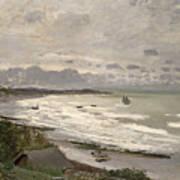 The Beach At Sainte Adresse Art Print by Claude Monet