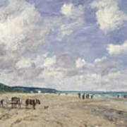 The Beach At Tourgeville Art Print by Eugene Louis Boudin