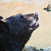 The Bear And The Hummingbird Art Print