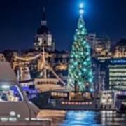 The Beautiful, Freshly Renovated Katarina Church And The Gigantic Christmas Tree In Stockholm Art Print