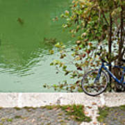 The Bicycle Is A Ubiquitous Form Of Transport In Europe And This Owner Has Literally Gone Fishing. Art Print