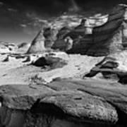 The Bisti Badlands - New Mexico - Black And White Art Print