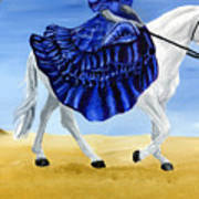 The Blue And The White - Princess Starliyah Riding Candis Art Print