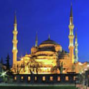 The Blue Mosque At Night Istanbul Turkey Art Print