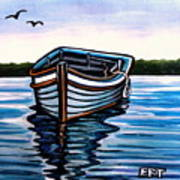The Blue Wooden Boat Art Print