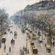 The Boulevard Montmartre On A Winter Morning, 1897  Art Print