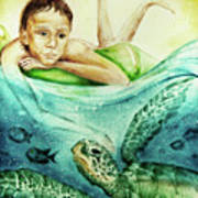 The Boy And The Turtle Art Print