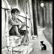 The Boy The Cat And A Flute Art Print