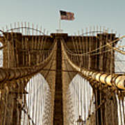 The Brooklyn Bridge Flag Art Print