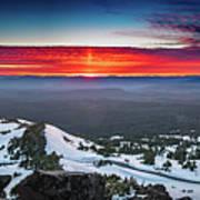 The Burning Clouds At Crater Lake Art Print