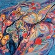 The Butterflies On Blue Art Print