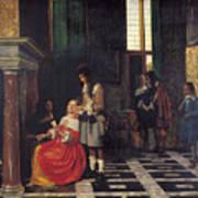 The Card Players Art Print by  Pieter de Hooch
