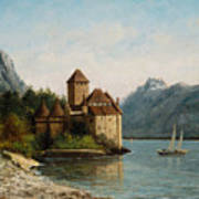 The Castle Of Chillon Evening Art Print by Gustave Courbet
